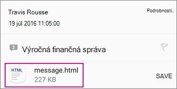 Zobrazovač OME s Androidom e-mailovú aplikáciu 1