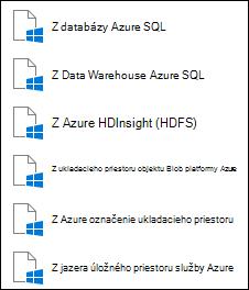 Načítanie údajov z Microsoft Azure