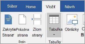 Vloženie tabuľky