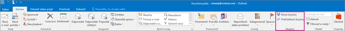Možnosti skupín na hlavnom páse s nástrojmi v Outlooku