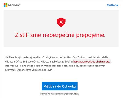Snímka obrazovky nebezpečných prepojenie upozornenie