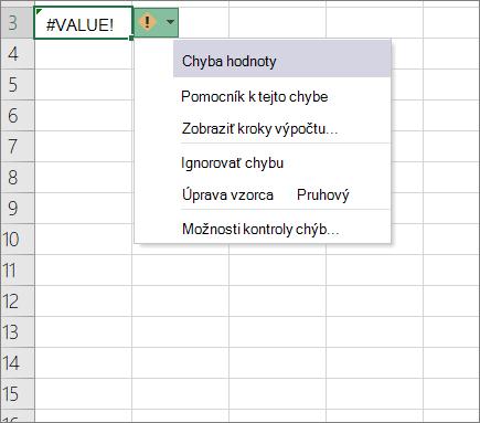 Rozbaľovací zoznam nachádzajúce sa vedľa ikony sledovanie hodnota