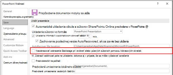 Snímka obrazovky s dialógovým oknom s možnosťami programu PowerPoint so zvýraznením nastavenia nepoužívať zobrazenie Backstage pri ukladaní pomocou klávesových skratiek