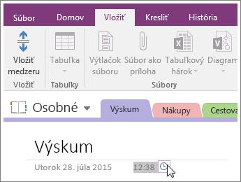 Snímka obrazovky s postupom zmeny časovej pečiatky na strane vo OneNote 2016.
