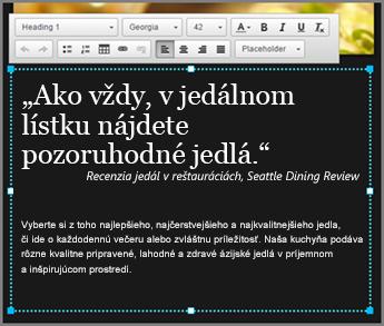 Príklad základného textu v návrhu lokality GoDaddy