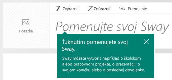 Výzva na zadanie nadpisu v scenári vo Swayi
