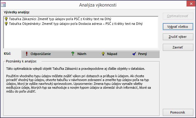 Dialógové okno svýsledkami analýzy výkonnosti po jej spustení vdatabáze Accessu.