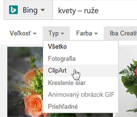 Otvorte filter Typ avyberte obrázok ClipArt