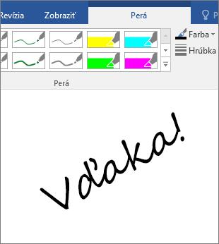 Zobrazuje príklad slov napísaných rukou vo wordovom dokumente