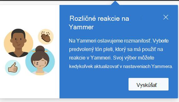 Snímka obrazovky zobrazujúca dialógové okno, v ktorom sa používateľovi oznamuje, že sú k dispozícii rozmanité reakcie a ako ich nastaviť