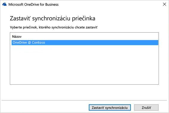 Snímka obrazovky sdialógovým oknom zastavenia synchronizácie priečinka