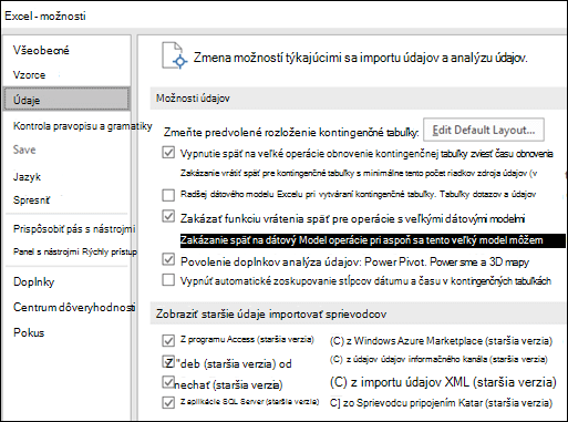 Možnosti údajov bol premiestnený zo súboru > Možnosti > Rozšírené sekcie do novej karty s názvom údaje v časti súbor > Možnosti.
