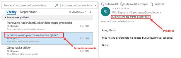 Outlook, správy sa zoskupia podľa témy konverzácie v zozname správ.