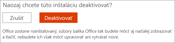Potvrďte svoju požiadavku na deaktiváciu inštalácie balíka Office