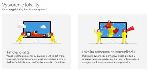 Výber typu lokality vSharePointe Online