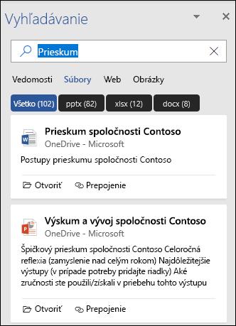 Tabla vyhľadávania zobrazujúca súbory, ktoré sa našli s vyhľadávaním