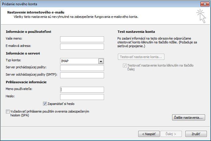 Nastavenie internetového e-mailu Outlooku 2010
