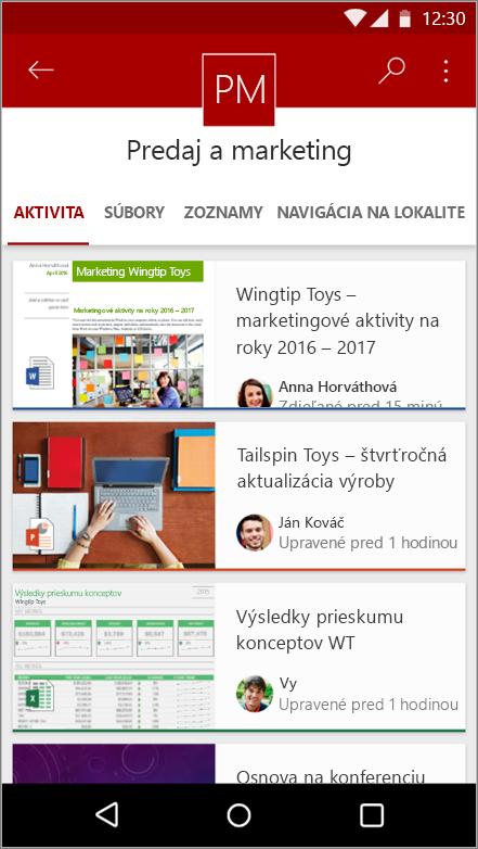 Snímka obrazovky s Android mobilné aplikácie so zobrazením stránky činnosti, súborov, zoznamov a navigácie