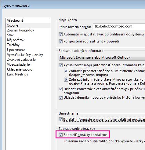 Snímka obrazovky s oknom s možnosťami Lyncu s vybratou kartou Osobné a zvýrazneným políčkom Zobraziť obrázky kontaktov