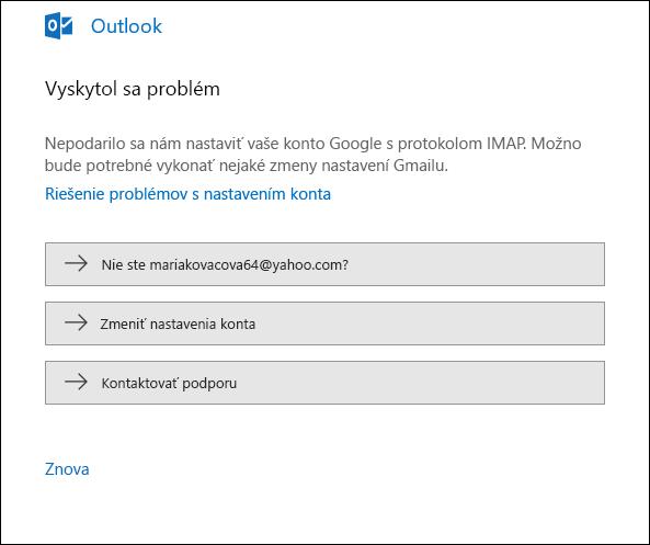 Vyskytol sa problém s pridávaním e-mailového konta do Outlooku.