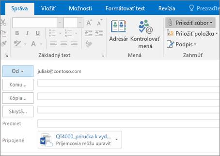 Snímka obrazovky s oknom na tvorbu správy v Outlooku so zvýraznenou možnosťou Priložiť súbor a priloženým súborom