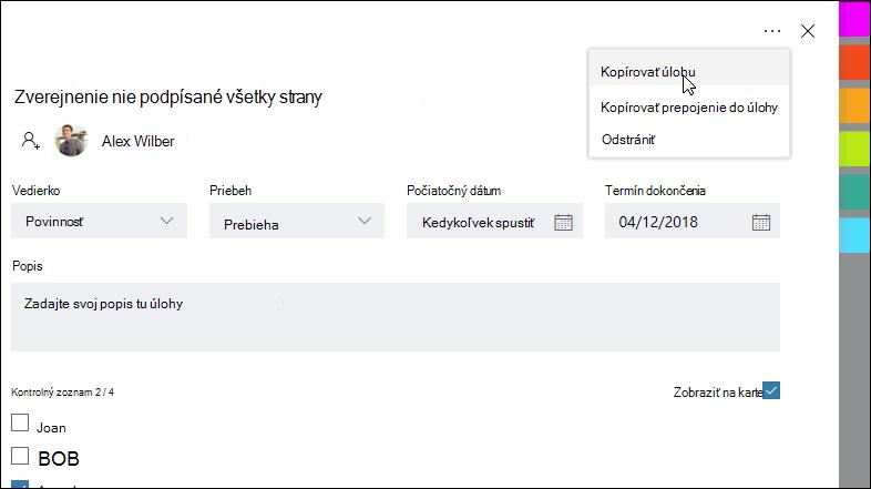 Snímka obrazovky: zobrazí sa otvorená úloha a ponuka viac v pravom hornom rohu.