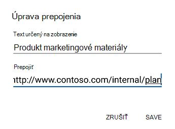 Dialógové okno text hypertextového prepojenia v Outlooku pre Android