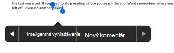Po výbere textu vo Worde ťuknite na položku Nový komentár