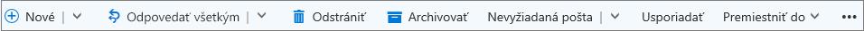 Panel príkazov služby Outlook.com, ktorý sa zobrazí po vybratí správy