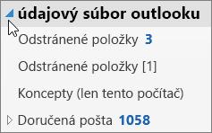 Ak chcete otvoriť údajový súbor Outlooku, vyberte šípku nachádzajúcu sa vedľa súboru.