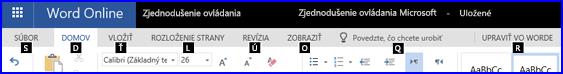 Pás snástrojmi vzobrazení na úpravy vo Worde Online so zobrazením prístupových klávesov