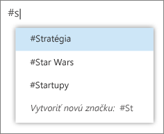 Výber hashtagu v zozname