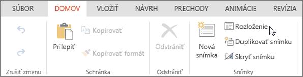 Snímka obrazovky s kartou Domov. Kurzor ukazuje na možnosť Rozloženie v skupine Snímky.