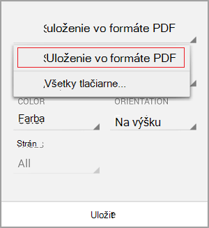 Vyberte položku Uložiť ako PDF