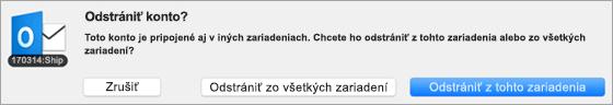 Snímka obrazovky sdialógovým oknom Odstrániť konto,