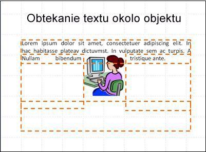 snímka s objektom vloženým zobrazenými textovými poľami a čiastočného textu.