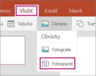 Zobrazuje možnosť Vložiť obrázok zfotoaparátu vOffice Mobile pre Windows 10