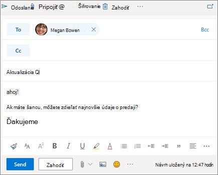 Vytvorenie nového e-mailu v Outlooku na webe
