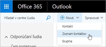 Snímka obrazovky s kontextovou ponukou tlačidla Nové a vybratou možnosťou Zoznam kontaktov.