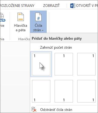 Obrázok galérie čísel strán, ktorá sa otvorí pri kliknutí na položku Čísla strán na karte Vložiť.