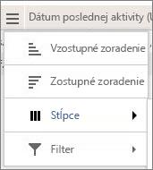 Snímka obrazovky s možnosťami ponuky pre výkazy Yammera