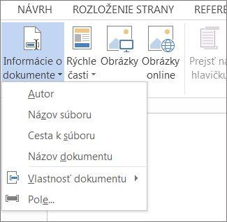 Ponuka Informácie o dokumente pre hlavičky a päty