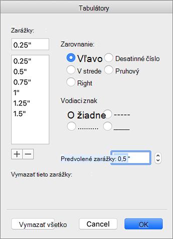 Dialógové okno karta v Macu