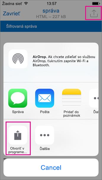 Zobrazovač OME pre Outlook pre iOS 2