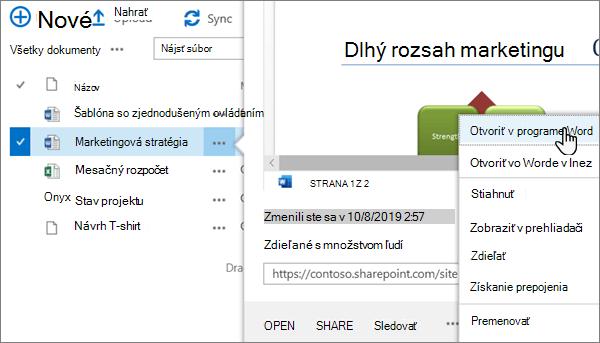 Možnosť otvoriť > otvoriť v ponuke aplikácie vybratá pre wordový súbor v klasickom zobrazení portálu OneDrive online