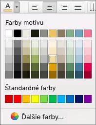 Kliknutím na položku Farba písma