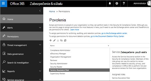 Snímka obrazovky s stránku zabezpečenie a dodržiavanie súladu centrum povolenia s služby zabezpečenia, ktoré vybral používateľ.