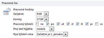 Časť Pracovný čas v dialógovom okne Možnosti programu Outlook