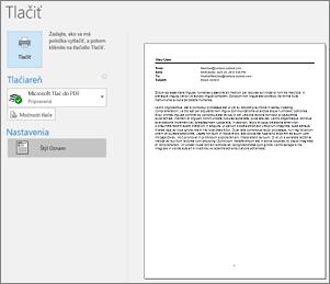 Ukážka pred tlačou e-mailovej správy v Outlooku