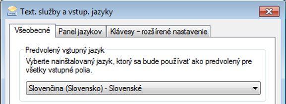 Dialógové okno Text. služby a vstup. jazyky